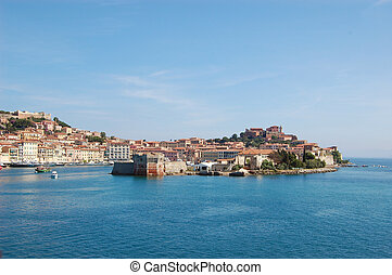 Elba - View on the harbor Porteferraio of Elba, Italy