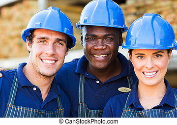hardware store workers outside building material warehouse