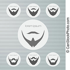 round icons beard with mustache person, retro, set