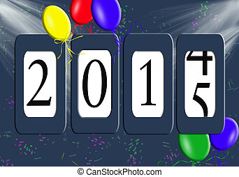 New Year 2015 odometer - New year 2015 with balloons and...