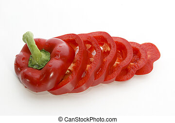 one fresh red paprika cut into slices
