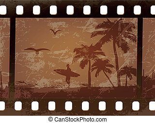 silhouette of a surfer with palm trees on an old, scratched...