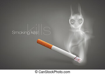 smoldering cigarette with a smoke
