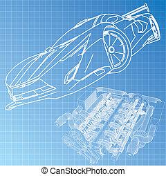 藍圖, 汽車, 略述, 運動