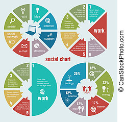 social circular diagrams application, arrow, bar, business,...