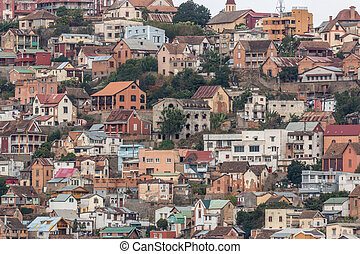 Densely packed houses on the hills of Antananarivo - View of...