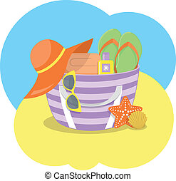 Beach Bag - Modern flat vector illustration of summer bag...