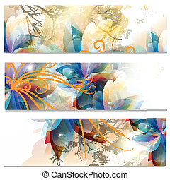 Abstract business cards set in flor - Vector illustration...