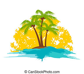 palm tree - island with a palm tree in the sun