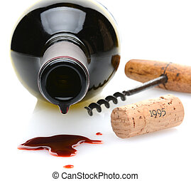 Wine Spill - Closeup of a red wine bottle with a drip and...