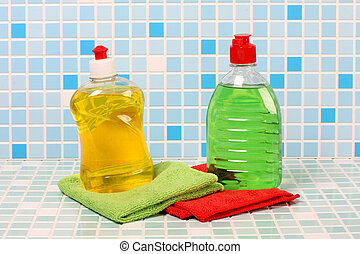 Cleaning bottle - Protective and cleaning products on tile...