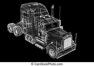 Logistics - Trucking - 3D model, body structure , wire model