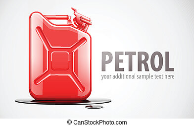 Red fuel canister for petrol in black oil drop. Eps10 vector...