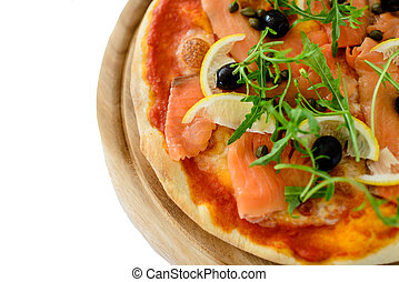 Salmon slice pizza