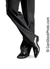 man\'s, pieds, noir, chaussures, pantalon