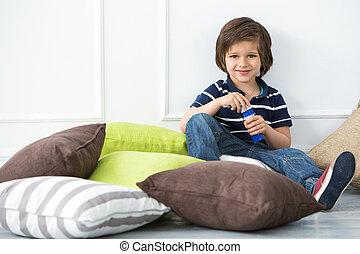 Adorable kid on the floor - Cute, adorable boy on the floor