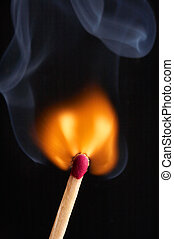 Match flame and smoke
