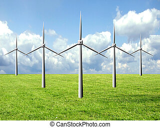 windmill famr - Windmill farm on a green field, clean energy...