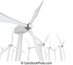 Wind Power - Turbines on White - Several wind turbines...