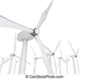Wind Power - Turbines on White - Several wind turbines...
