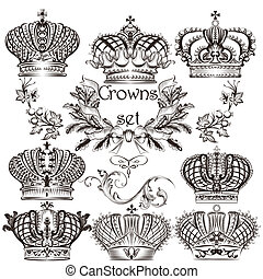 Collection of vector crowns in vintage style - Vector set of...