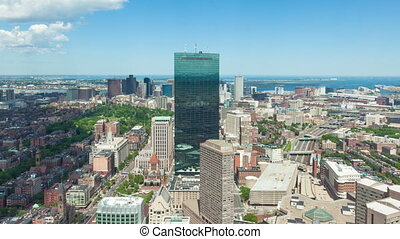 4K Aerial timelaspe of Boston skyline - Massachusetts - USA