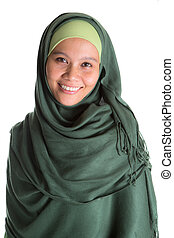 musulman, femme, dans, vert, Hijab