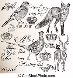 Collection of vector hand drawn animals for hunting design -...