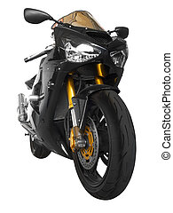 sport-bike - Black sporting motorcycle in a white background...