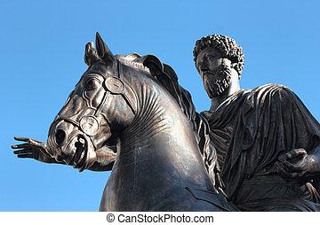 Statue of Marco Aurelio, Rome, Italy - Statue of the emperor...