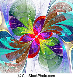Multicolor beautiful fractal flower on white background....