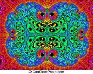 Symmetrical fractal pattern as carpet Blue and red palette...