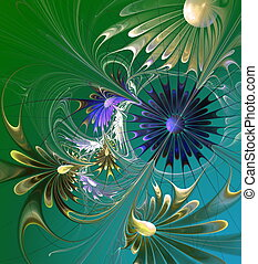 Flower background Green, blue and gray palette Computer...