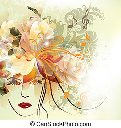 Fashion woman with beautiful face - Abstract vector...