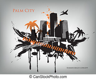 Summer beach concept downtown party city with palm tree