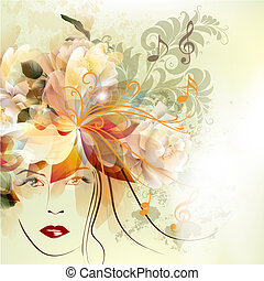 Fashion woman with beautiful face and flowers - Abstract...