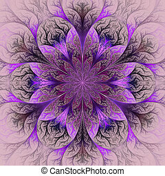 Beautiful fractal flower in purple, claret and gray....