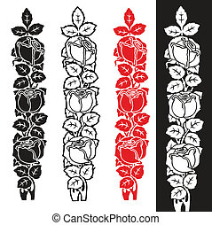 roses - set of mourning decoration with differently colored...