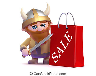 3d Viking has been to the sales - 3d render of a viking with...