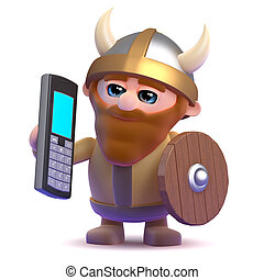 3d Viking mobile phone - 3d render of a viking with a mobile...