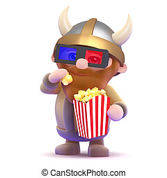 3d Viking popcorn - 3d render of a viking eating popcorn at...