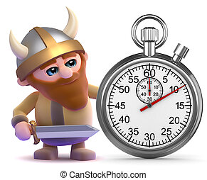 3d Viking stopwatch - 3d render of a viking with a stopwatch