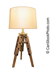 Decorative vintage lamp shades Out of wood on a white...