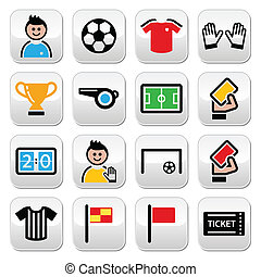 Soccer or football colorful buttons