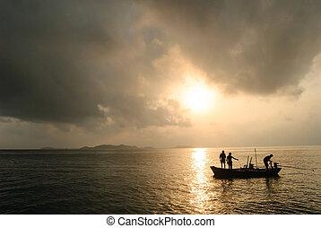 silueta, pescadores, ellos, barco