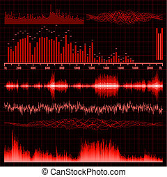 Sound waves set. Music background. EPS 8 vector file...