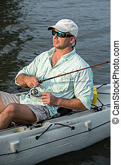 hombre, pesca, kayac