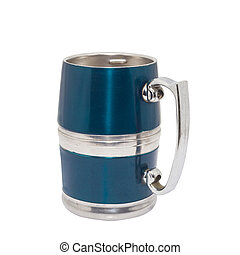 pewter beer mug decorated