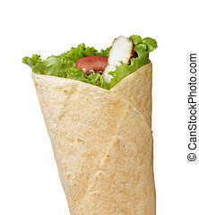 tortilla chicken wrap, directly above on white background