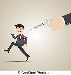 cartoon businessman run away from vaccination - illustration...